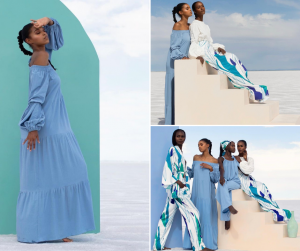 collage of Sydney modeling different fashion for the Diarrablu campaign