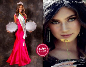 bodyshot of Taylor in her crown and sash next to an image of her featured cover editorial