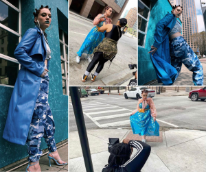 collage of Hannah modelng in poses and different outfits for the mentioned photoshoot