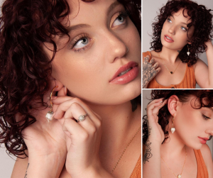 collage of Hannah modeling Creteation jewelry