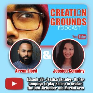 cover YouTube promotional image from the Creation Grounds podcast featuring an image of Arron Lloyd and Jessica Genadry with a description of the podcast