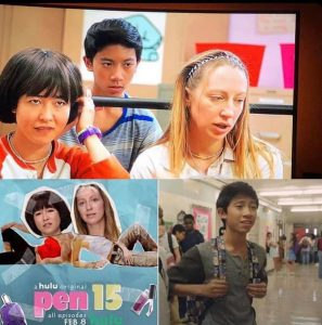 collage: still of Nathaniel in a school hallway from the show, still of him looking serious with two other girl actors from the show, promotional poster for Pen 15