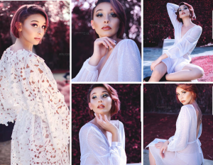 "Collage of Neveah McKissing in different poses from the ""In Red"" photoshoot"