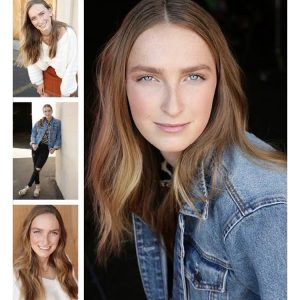 collage of modeling and acting head shots and body shots of Sydney Rogers