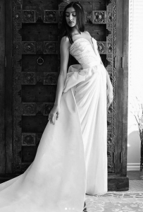 Black and White photo of Vanessa modeling a wedding dress