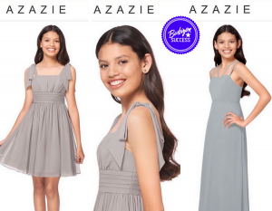 Collage of Victoria Anaya modeling several dresses from Azazie's website