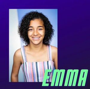 "head shot of Zariah Holden on a graphic with the name ""Emma"" for her new role"