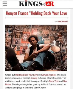 screengrab of Kings of A&R write up of Kenyon France's song