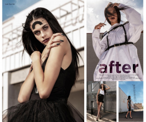 collage of Olivia modeling in different poses and fashion outfits from the editorial feature in Fashion West Magazine