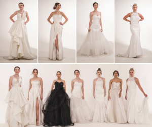 collage of Barbizon grads posing individual in bridal gowns and group shot of them all together in their gowns