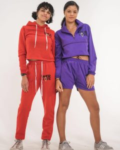 Lily and Elke modeling in colored sweat suits as featured on the designer brand's Instagram