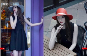 magazine photos of Abigail wearing hats, one grey while leaning against a post and one red while seated