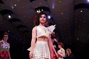Barbizon Southwest models Karina Rivera and Wendy Perez walked in The Paper Fashion Show segment of Denver Fashion Week1