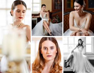 Collage of Haleigh in bridal wear from the photoshoot