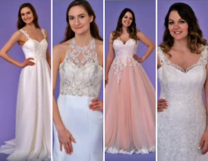 Collage of Alicia and Bryleigh in different bridal wear and dresses
