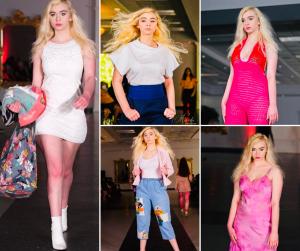 collage of Destiny Garrett walking in different designer outfits at Fairhope Fashion Week