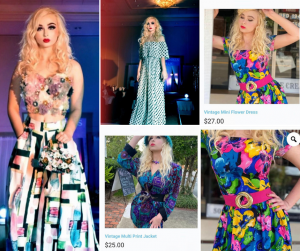 collage of Destiny modeling int he fashion show and on the mentioned website in different vintage outfits