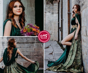 collage of Joci modeling a long teal velvet gown in different poses