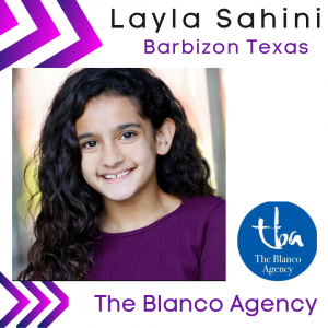 artistic graphic with head shot of Layla and the Blanco Agency logo