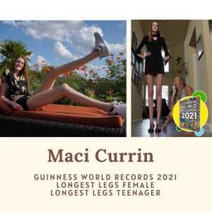 Maci reclining outside showing of her long legs and standing tall in a hallway
