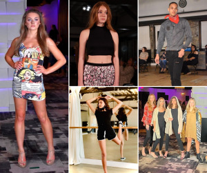 Collage of Karis, Joci, Darius, and Francesca modeling on the runway for Coastal Fashion week