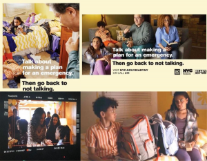 collage of the billboard PSAs Alexis is featured including a behind the scenes camera shot