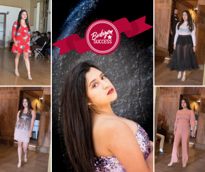 headshot of Ariana modeling within a collage of her modeling different outfits at Coastal Fashion Week
