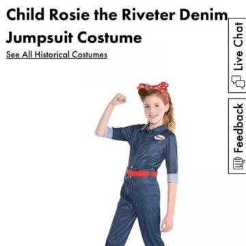 Arianna in the Rosie costume posing with her arm flexed on the website of Party City
