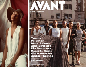 Group of models including Dani posing on the cover of AVANT magazine next to a posing image of Dani seated in a white jumpsuit and floppy hat