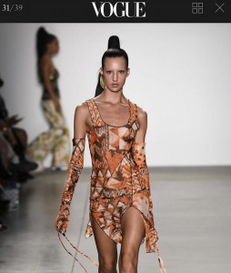 Barbizon alum Emily Hazeltine was featured on Vogue runway walking for Kim Shui Studio