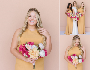 Collage of Emily wearing a yellow dress and holding a bouquet of flowers