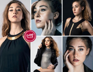 Collage of Gianna in different poses for the photoshoot