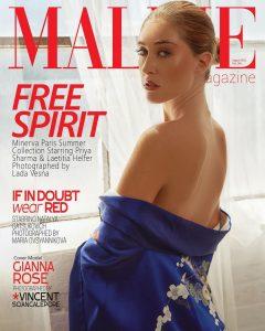 Gianna modeling on the cover of MALVIE