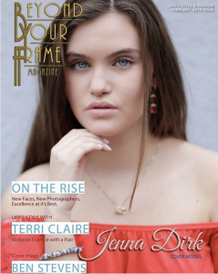 Barbizon alum Jenna Dirk booked the cover of Beyond Your Frame Magazine February 2019 issue