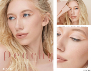 collage of Lauren Allen from the editorial, close-ups of her wearing nude colored makeup