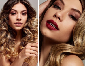 side by side images of Lucia in the featured editorial, one headshot of her with long, curled hair and one closeup of her wearing red lipstick