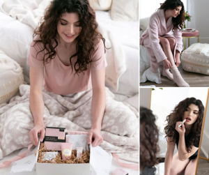 collage of Mackenzie modeling and posing with Belle and Blush products from the social media campaign