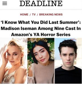 photo of Deadline article headline announcing the Amazon series and featuring headshots of leading actors, including Madison