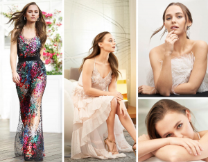 Collage of Madison Iseman in a long colorful dress as well as different seated poses