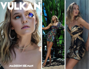 Collage of Madison from Vulkan editorial with cover photo and posing in brightly colored, sparkled dresses one against a cactus and another against a wall