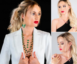 collage of Mikayla modeling different jewelry sets and earrings for the Benazir Collection