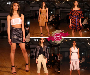 collage of Prisila walking the runway in different outfits at Tampa Coastal Fashion Week