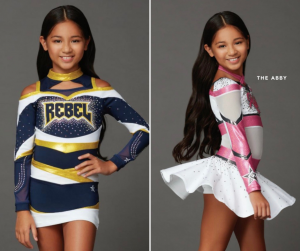 Raiah Jolynn modeling in two different cheer outfits in the Rebel Athletic Cheer lookbook