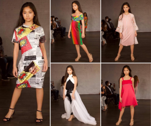 collage of Raiah wearing different fashion dresses on the runway at Coastal Fashion Week