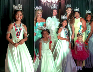 Raiah wearing her crown, medals, and gown next a group photo of her and the pageant contestants