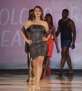 Barbizon alum Sabrina Banks is modeled for fashion designer Colors Are Beautiful at The Walk Fashion Show