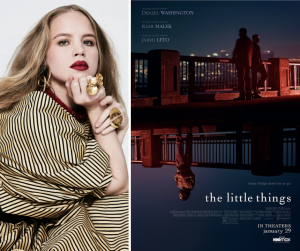 headshot of Sofia modeling next to a promotional movie poster for The Little Things