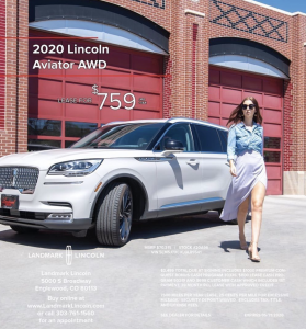 Kelsey walking casually next to a Lincoln town car in the print ad