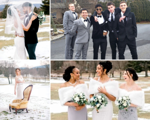 Collage of Barbizon grads in wedding attire as grooms, groomsmen, brides and bridesmaids outside in the snow