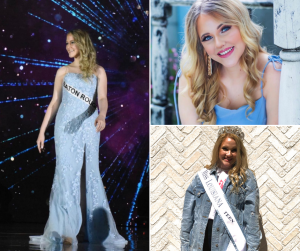 collage of AnnMarie including a head shot, a shot of her in a gown at the pageant, and wearing her title sash